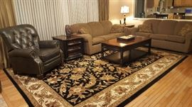 Preston Ridge Coffee table and end table $500  RUG: $600 Matching TV stand $500