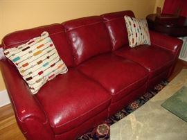 Red leather sofa ,  like new