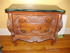 Faux marble top commode