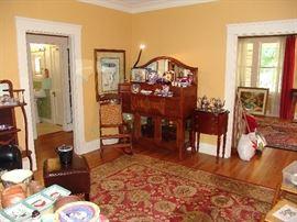 Oriental rug and mahogany sideboard