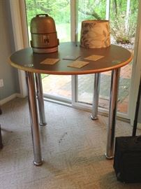 Haworth Pub-Style Work Table with Laminate Top and Chrome Legs