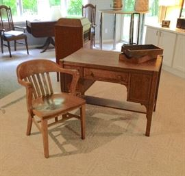 Oak Mission Style Desk with Bookshelves on Ends & Oak Library Chair