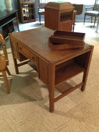 Oak Mission Style Desk with Bookshelves on Ends & Wood File Trays