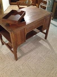 Oak Mission Style Desk with Bookshelves on Ends & Wood File Trays - Backside view