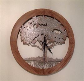 Oversized Metal Tree of Life Battery Operated Clock in Round Wood Frame