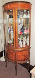 Antique Victorian Curio with Curved Glass and Inlay in excellent condition