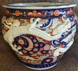 Dragon Pot (aged, thrown Asian pottery, unmarked)