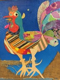 Elsia Wasser Textile & Acrylic Pop Art Rooster Painting