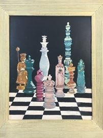 Mid-Century Modern Surrealism Oil on Board Chess Painting