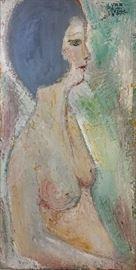 Yves LeDuc Mid-Century textured oil on canvas Portrait