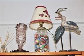 Fun Collectibles, including some wading birds, a marble based lamp, etc.