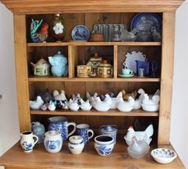 "Adorable display of vintage pottery and hens on nests, or ""HONS"""