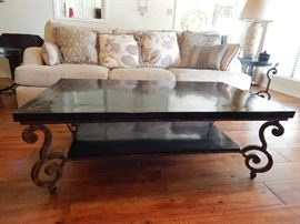Marble and Wrought Iron Coffee Table with Inlay