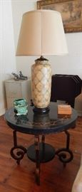 One of Two Marble w/Inlay End Tables and Lamps