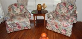 Overstuffed Floral Chairs - Occasional Table - Large Cloisonné Egg