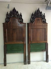 Pair of carved, French antique headboards and footboards and rails.  Twin size