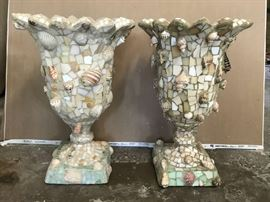 Pair of shell and mosaic urns.