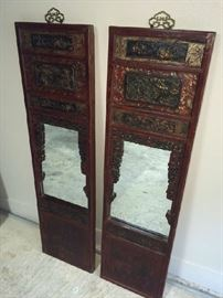 Pair of antique Chinese mirrors