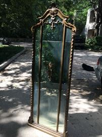 Antique, French carved wall mirror.