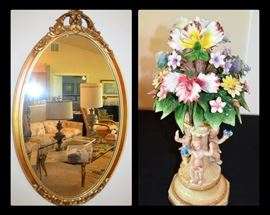 Antique gilded mirror and Italian capodiamonte