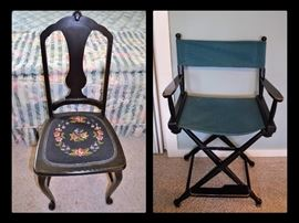 Antique chair and director chair