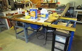 Delta table saw with special platform for repetition cuts (can be sold separately from saw)