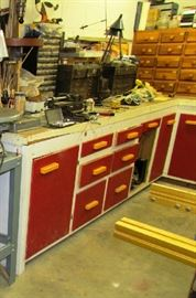 Note tool chests, loaded with attachments and tools