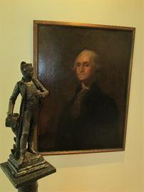 Napolean bronze and George Washington painting