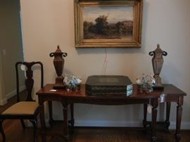 Grand scale console table w/cane panels