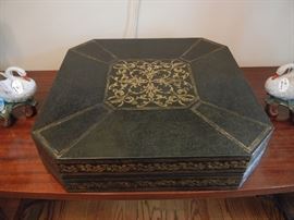 Magnicifent Italian Leather box w/gold embossing