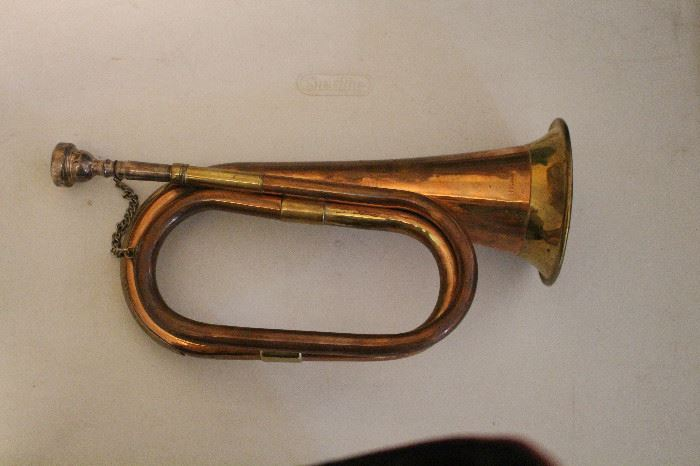 brass bugle, real instrument, not just decoration! You can rally the troops!