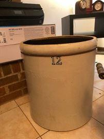 Large White Hall Stoneware S.P&S 12 gallon crock