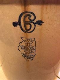White Hall Stoneware S.P.&S. Co. 6 gallon crock