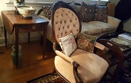 inlaid side tables American Victorian button-back chairs