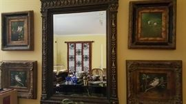 acanthus carved mirror with bird paintings