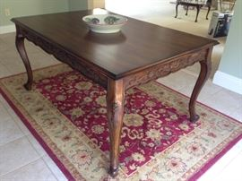Country French Dining Table, Rug