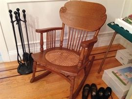 Antique Rocking Chair, Fireplace Tools