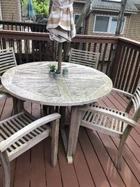 Teak (Nantucket/New England Patio set with cushions and umbrella.  Seasoned beautifully!  All in new condition.