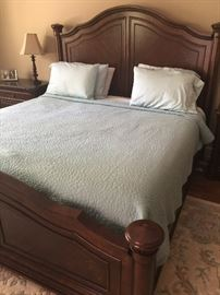 Selling a Bedroom set consisting of the bed pictured which is a King-sized bed with headboard and footboard (Temperpedic memory foam mattress sold separately - 10-years old but never removed from protective bag); 2 matching nightstands, Matching chest of drawers, and Matching dresser and mirror. All items in excellent condition. Price of bedroom set without mattress: $2,000
