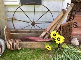 Antique yokes, horseshoes, boxes and more!