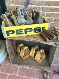 Vintage pepsi box, wooden stirrups, horse tack