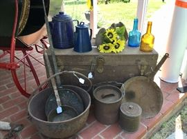 Several of these items have provenance to Daniel Boones summer home! Vintage trunk, antique cookware, vintage apothecary