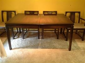 Dining set has 2 leaves, 6 chairs.
