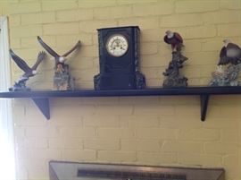 Bird figurines and French chiming clock.