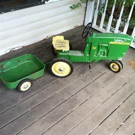 Vintage John Deere Pedal Tractor & Trailer