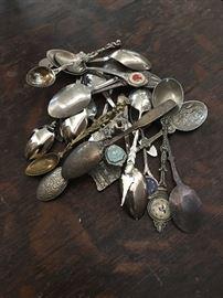 Various sterling souvenir spoons