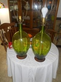 Pair of Blenko Glass Lamps