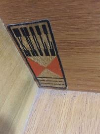 Knoll tag from interior of dresser
