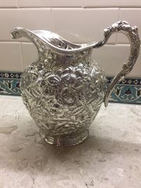 Repousse Sterling Silver Pitcher