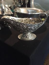 Repousse Sterling Silver Gravy Boat